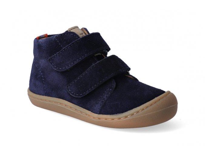 Barefoot kotníková obuv KOEL4kids - Korkid velour dark blue