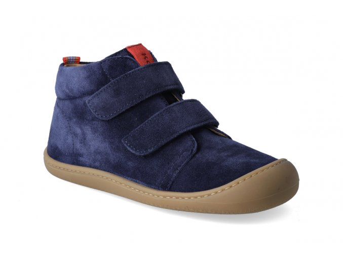 barefoot kotnikova obuv koel4kids plus velour dark blue 2