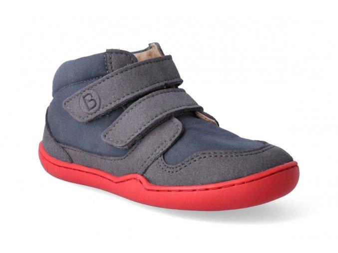 barefoot kotnikova obuv blifestyle loris velcro steingrau 2