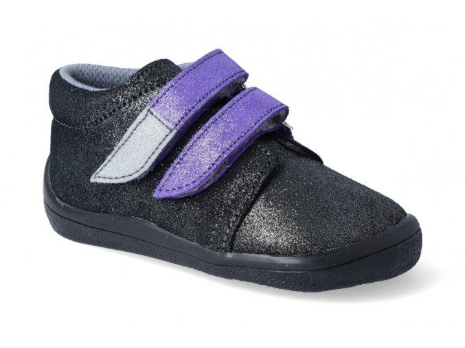 barefoot kotnikova obuv s membranou beda dark violette 2