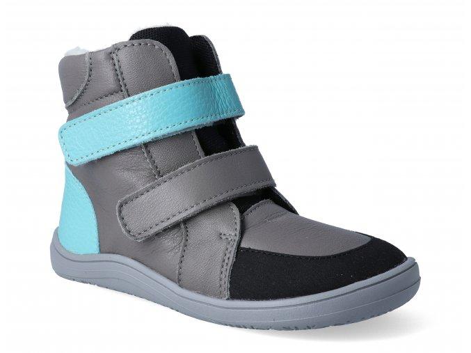 barefoot zimni obuv s membranou baby bare febo winter grey tyrkys asfaltico 2