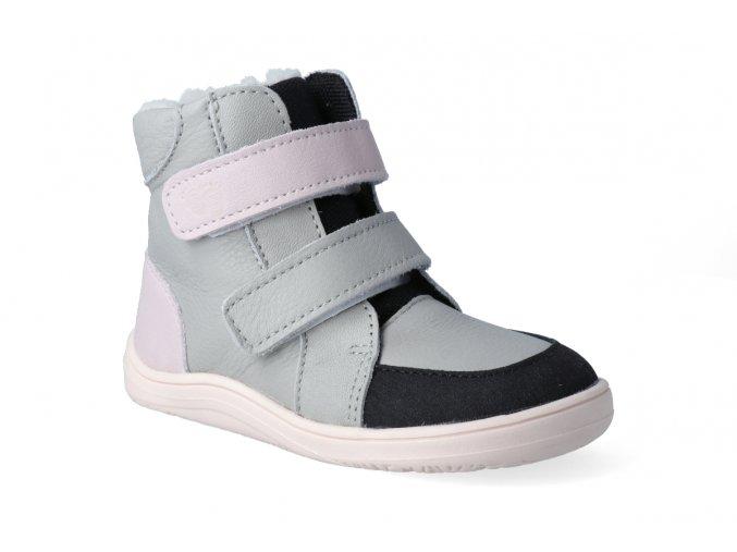 barefoot zimni obuv s membranou baby bare febo winter grey pink asfaltico 2 2