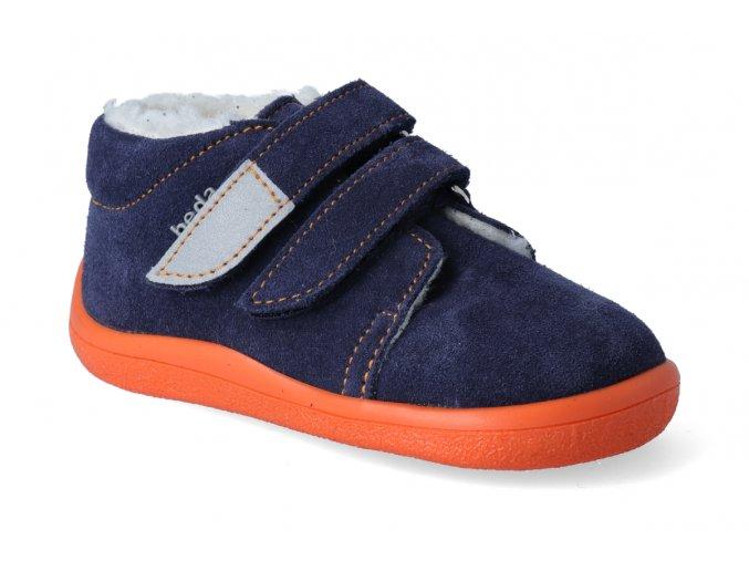 barefoot zimni kotnikova obuv s membranou beda blue mandarine 2