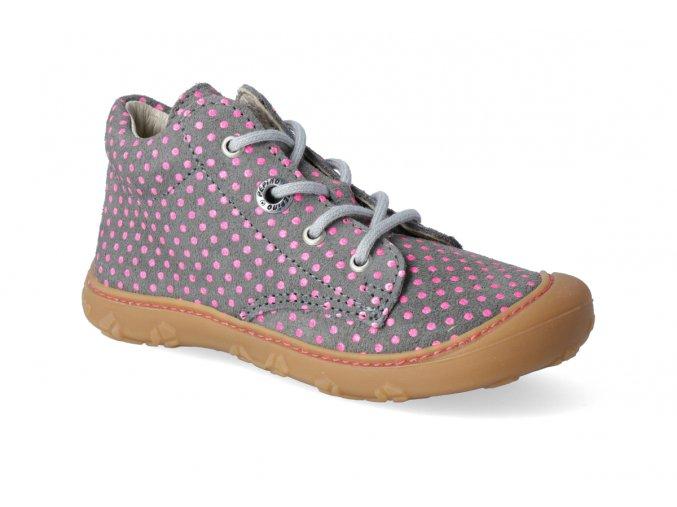 barefoot kotnikova obuv ricosta pepino dots graphit mundi m 2