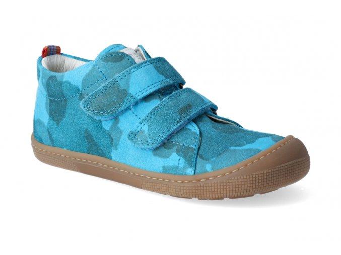 barefoot tenisky koel4kids bernardinho cyan camo 2