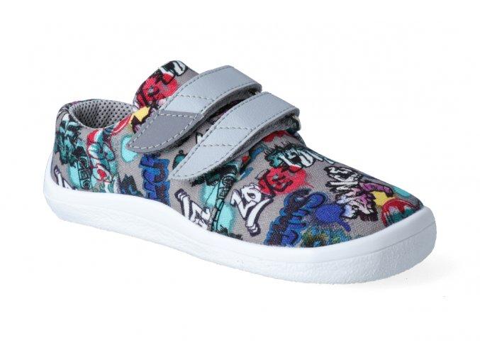 barefoot tenisky beda grey graffiti textilni 2