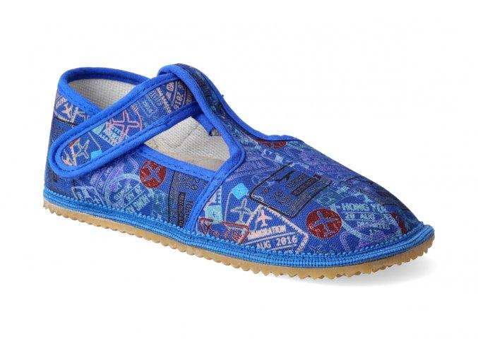 barefoot prezuvky beda uzky typ modre napisy 3