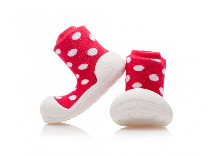 Barefoot capáčky Attipas - Polka Dot Red