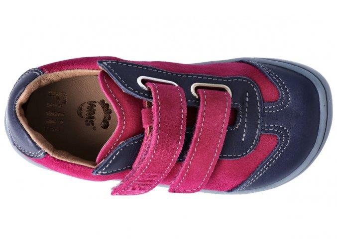 Barefoot tenisky Filii - LEGUAN velcro nappa/velours ocean/pink M