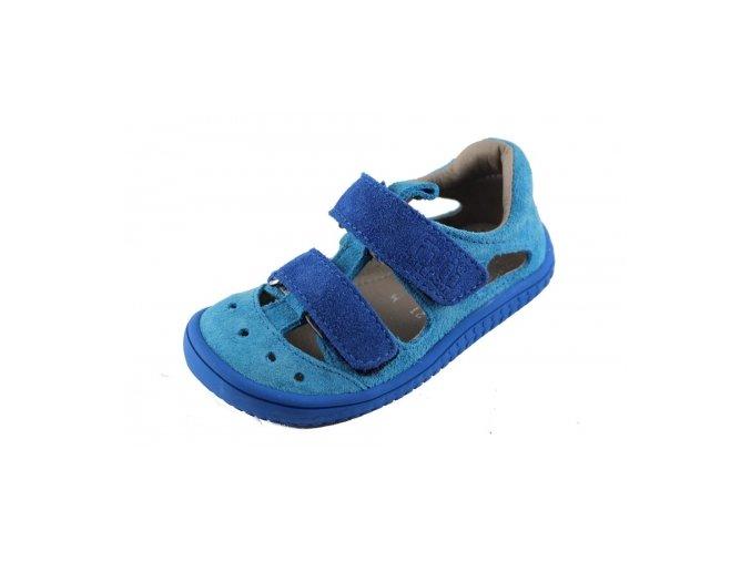 Filii barefoot KAIMAN velcro velours turquoise/blue M