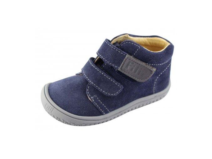 Kotníková barefoot obuv Filii - CHAMELEON velcro velours ocean W