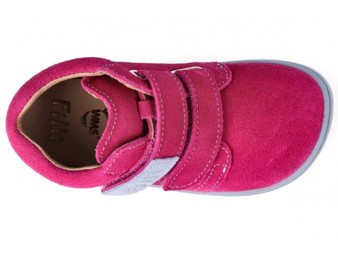 Kotníková barefoot obuv Filii - CHAMELEON velcro velours pink W