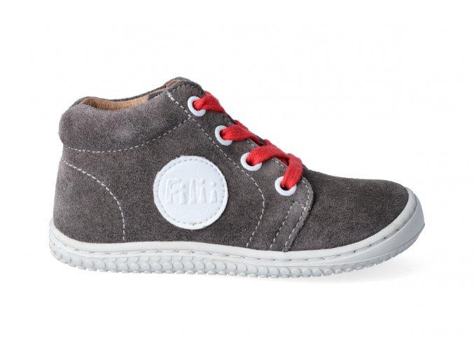 Kotníková barefoot obuv Filii - GECKO laces velours graphit