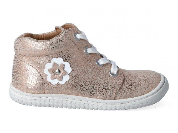 Kotníková barefoot obuv Filii - GECKO laces velours rose gold M
