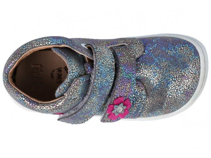 Kotníková barefoot obuv Filii - CHAMELEON velcro velours glitter graphit M