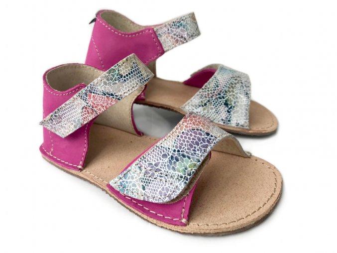 ORTO+ Barefoot sandály dětské růžovo-hadí 36/009
