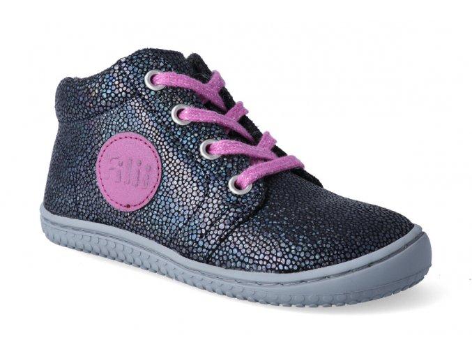 barefoot kotnikova obuv filii gecko velours fleece glitter ocean 3