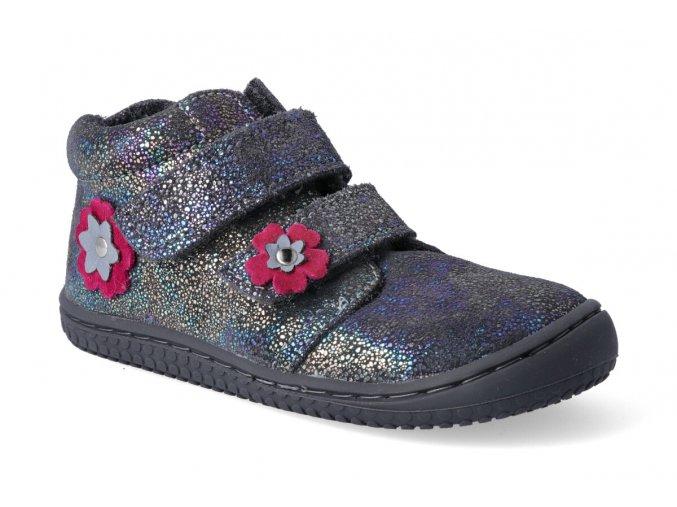 barefoot kotnikova obuv chameleon velours glitter graphit velcro m 3