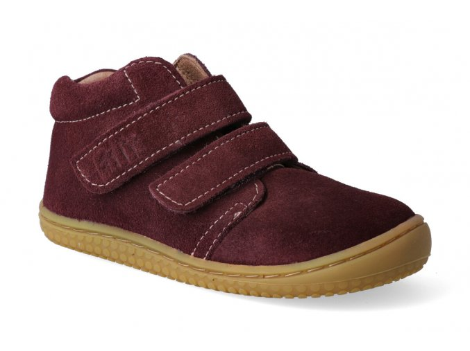 barefoot kotnikova obuv filii chameleon velours berry velcro w 2