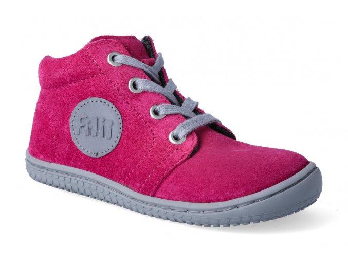 barefoot kotnikova obuv filii gecko velours pink 3