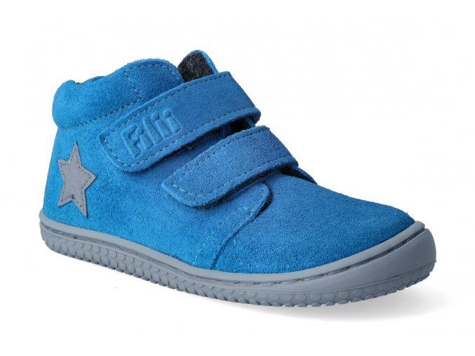 barefoot kotnikova obuv filii chameleon velours electric blue velcro m 3