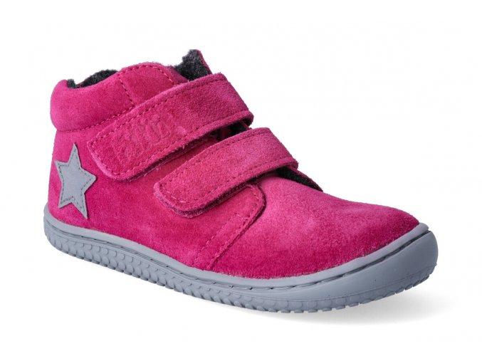 barefoot kotnikova obuv filii chameleon velours pink velcro m 2