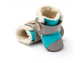Barefoot zimní capáčky Liliputi® - Arctic Turquoise