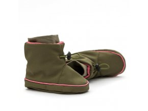 Barefoot capáčky Liliputi® - Olive pink do šátku/nosítka/kočárku
