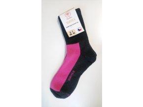 Ponožky Surtex - ACTIVE 80% Merino černorůžové pro dospělé