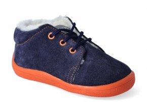 barefoot zimni kotnikova obuv s membranou beda blue mandarine tkanicka 2