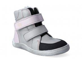 barefoot zimni obuv s membranou baby bare febo winter grey pink asfaltico 2