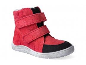 barefoot zimni obuv s membranou baby bare febo winter red velour asfaltico 3