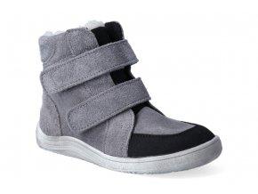 barefoot zimni obuv s membranou baby bare febo winter grey velour asfaltico 2