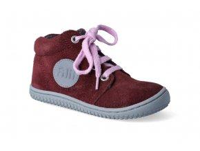 barefoot kotnikova obuv filii gecko fleece berry m 2