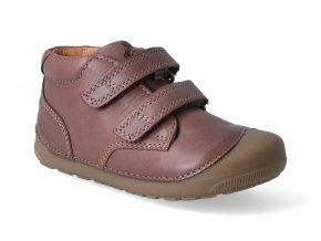 barefoot kotnikova obuv bundgaard petit velcro mink brown 2