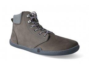 barefoot zimni kotnikova obuv blifestyle streetstyle nubuk fleece graphit 2
