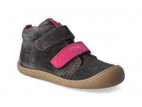 barefoot kotnikova obuv koel4kids plus velour carbon fuchsia 2