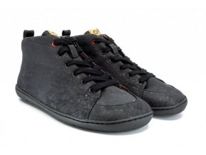 Barefoot kotníková zimní vegan obuv Mukishoes - High-cut Cork All Black