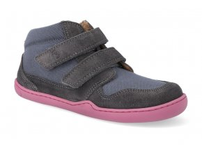 barefoot kotnikova obuv blifestyle loris velcro grau 2