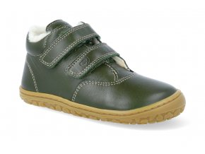 barefoot zimni obuv lurchi niklas nappa olive 2