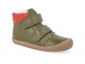 barefoot zimni obuv koel4kids bart nappa wool khaki 06W003.102 350 4