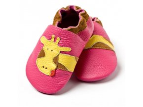 liliputi soft baby shoes fuchsia giraffe 2101