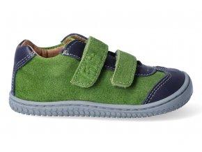 Barefoot tenisky Filii - LEGUAN velcro nappa/velours ocean/apple M
