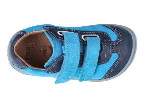 Barefoot tenisky Filii - LEGUAN velcro nappa/velours ocean/turquoise M