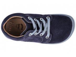 Kotníková barefoot obuv Filii - GECKO laces velours ocean W