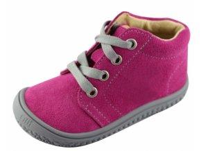 Kotníková barefoot obuv Filii - GECKO laces velours pink W