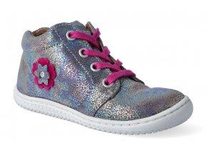 kotnikova obuv filii barefoot gecko laces velours silver pink m 3