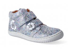 kotnikova obuv filii barefoot chameleon velcro velours silver glitter 2