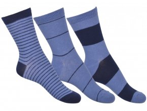 Move by Melton set 3 ks ponožek Brill blue Stripes