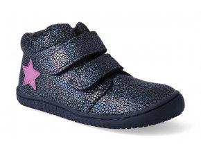 barefoot kotnikova obuv filii chameleon velours glitter ocean velcro m 2